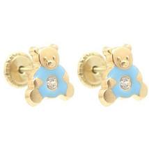 Baby/Children 14K Yellow Gold Enamel Blue Teddy Bear Screw-Back  Earrings - $42.56