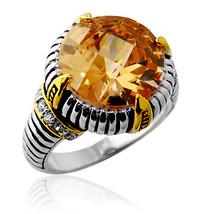 Fancy 15.46CT 925 Silver Antique Round Citrine Unique Design Ring 18K Gold Plate - £83.93 GBP