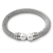 Stunning Italian 925 Silver Silver Pearl Bangle Bracelet 14 K White Gold Covered - $147.51