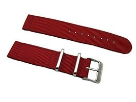 HNS 2 Pieces 24mm Red G10 Mod Ballistic Nylon Nato Watch Strap Stainless... - $13.50