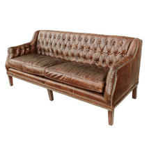 """73"""" Sofa  Distressed Cigar Brown Tufted Leather Contemporary - $2,569.05"""