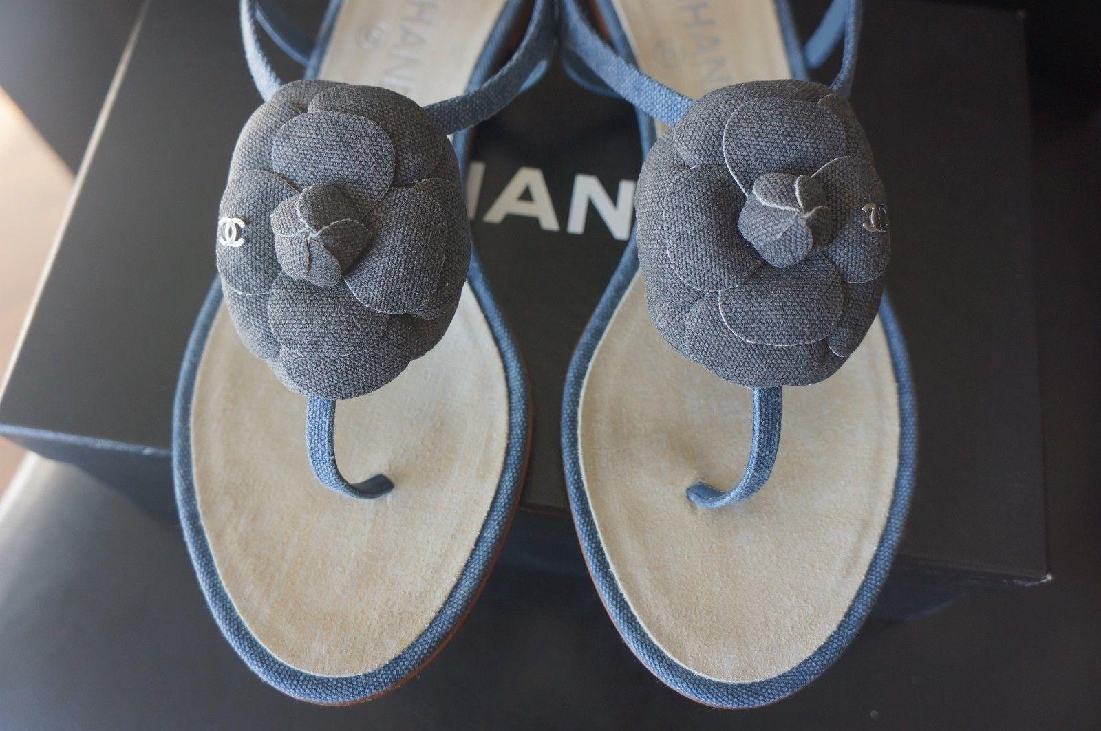 3f4b409ca NEW Chanel Blue Denim Black Denim Camellia Flat Thong Sandals Sz 40 US 9.5