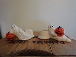 VTG Halloween Pumpkin And Ghost Candleholders Table JOL Jack o Lantern  - $19.98