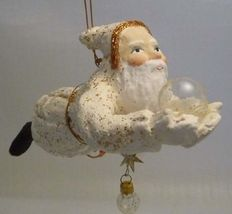 Vintage Flying Celestial Santa Elf with Glass Orb and Stars Gallery Ornament 90s - $54.99