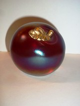 FENTON GLASS RUBY RED CARNIVAL SATIN APPLE PAPERWEIGHT WITH GOLD STEM - $38.32
