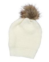 Women's Ivory Faux Fur Pom Pom Popcorn Knit Beanie Cap - $15.99 CAD