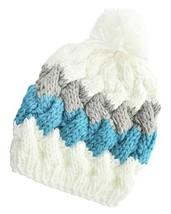 Women's Thick White, Grey & Blue Pom Pom Cable Knit Twist Beanie Cap - ₨630.74 INR