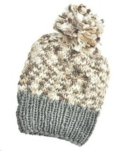 Women's Thick Grey, Brown & Ivory Pom Pom Cable... - $8.99