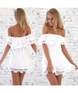 Womens Sexy Lace patchwork chiffon off shoulder strapless Short Dress L ... - $12.30