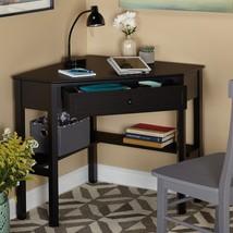 Corner Desk Black Wood Work Station Computer Writing Drawer Shelf Small ... - €121,89 EUR
