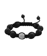 Adjustable Macrame Bracelet with Matte Black On... - $17.49