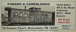 Funaro & Camerlengo HOn3 SR&RL Caboose # 551 Kit 5030 image 1