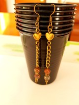 Handmade earrings chain drop dangle bronze heart pietersite - $19.90