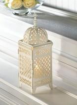 10 White Iron Quatrefoil Design Candle Lanterns Bright High Polished Finish - $101.80