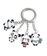 Cute Panda Keychain with Metal Keyring (4 Characters on 1 Keychain) - $7.99