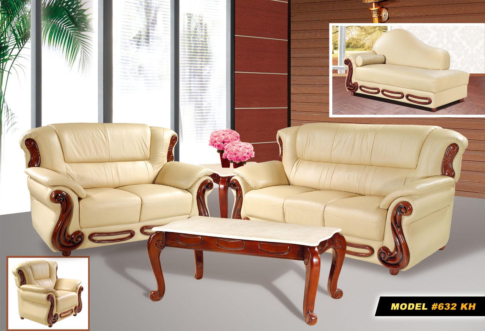 Meridian 632 Bella Living Room Set 2pcs in Khaki Bonded Leather Traditional