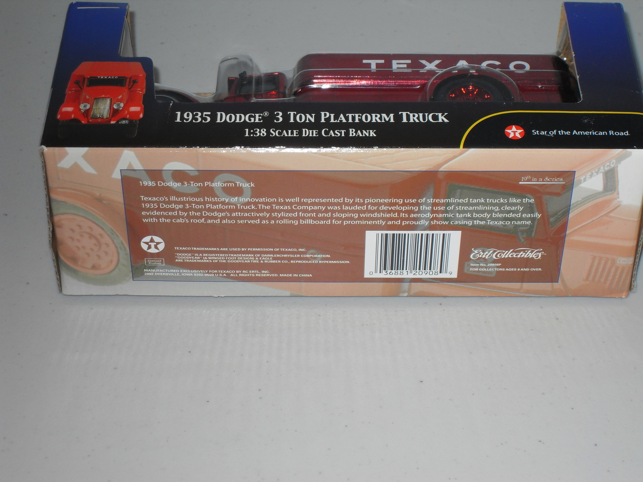 2002 ERTL Texaco 1935 Dodge 3 Ton Platform Truck 1:38 Scale Die Cast Bank New