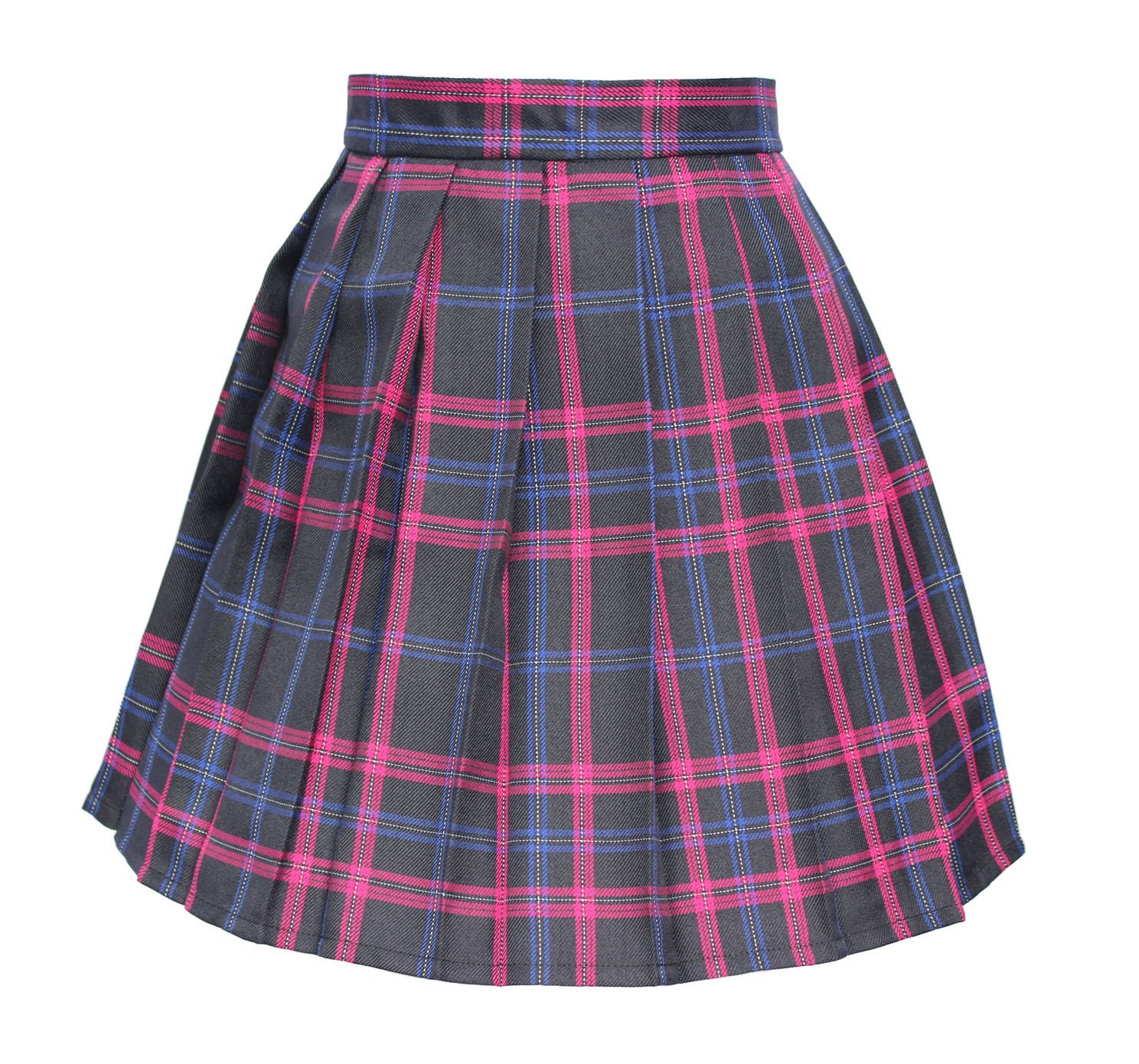 Women`s high waisted plaid short Sexy A line Skirts costumes (Medium, Black m...