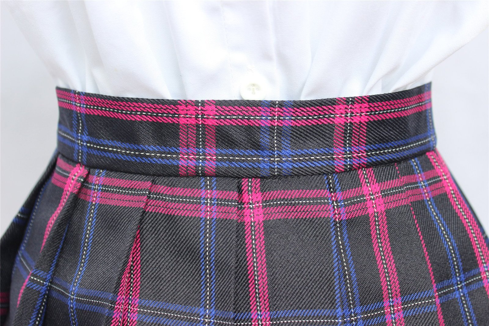 Women`s high waisted plaid short Sexy A line Skirts costumes (Medium, Black m...