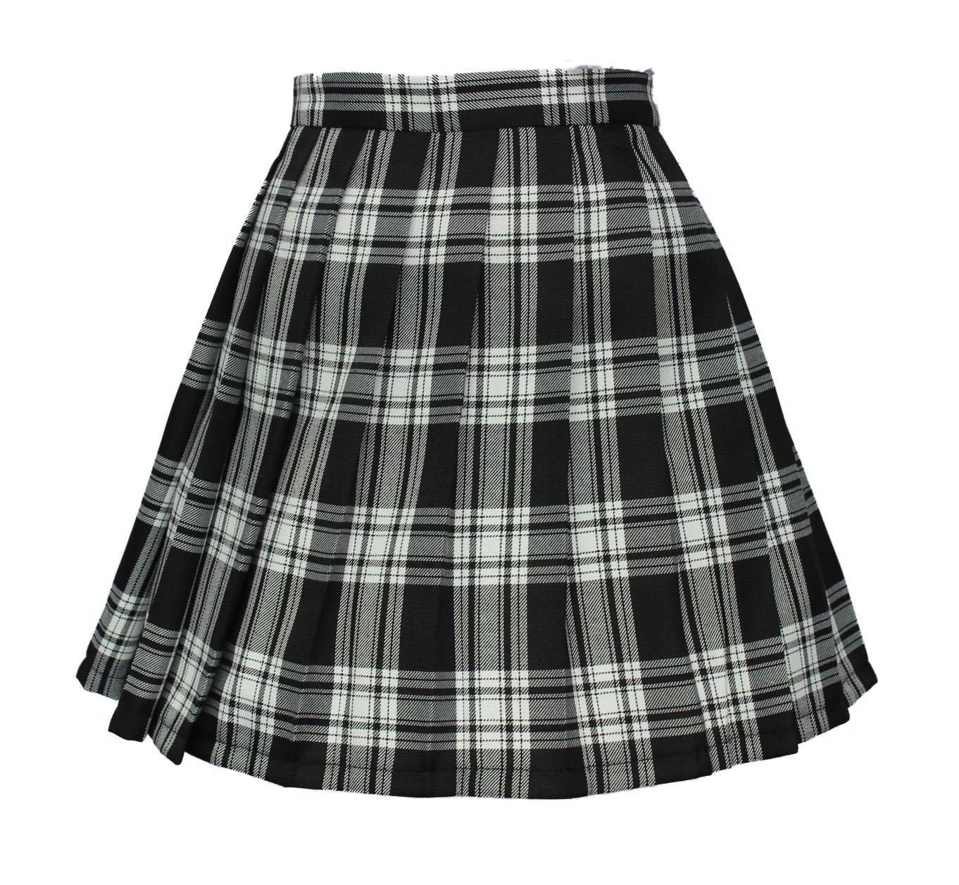 Women`s high waisted plaid short Sexy A line Skirts costumes (2XL, Black mixe...