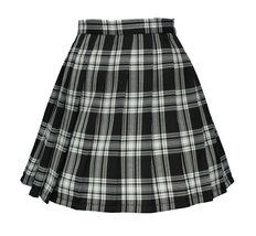 Women`s high waisted plaid short Sexy A line Skirts costumes (2XL, Black... - $19.79