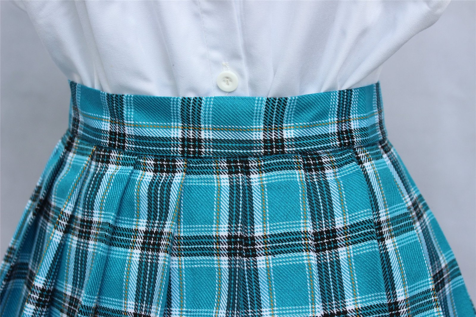 Women`s high waisted plaid short Sexy A line Skirts costumes (Small, Blue mix...