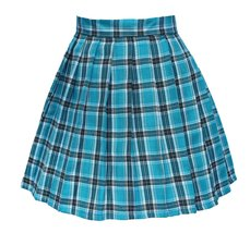 Women`s high waisted plaid short Sexy A line Skirts costumes (XL, Blue m... - $19.79