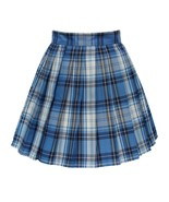 Women`s high waisted plaid short Sexy A line Skirts costumes (L, Blue mi... - $19.79