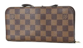 Auth LOUIS VUITTON Insolite Damier Ebene Canvas Leather Long Wallet #37023 - $465.00