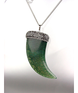 EXQUISITE Marble Green Jade Agate Marcasite Crystals Italian HORN Long N... - $39.99