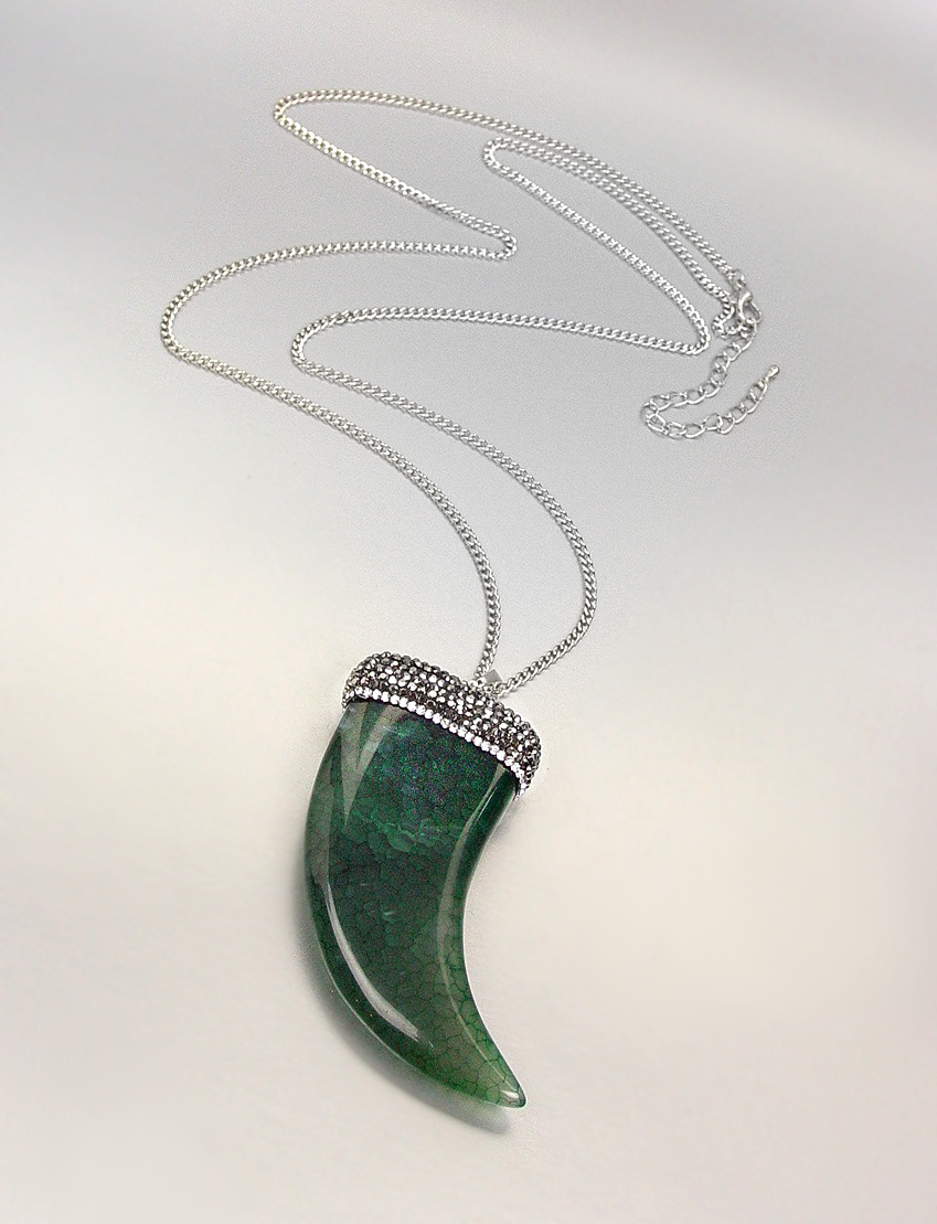 EXQUISITE Marble Green Jade Agate Marcasite Crystals Italian HORN Long Necklace