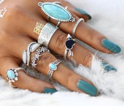 17KM Vintage Big Stone Midi Ring Set For Women Boho Antique Silver Color Heart F - $24.00+