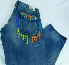 Coogi Blue Denim Jeans Baggy Paint W 38 L 34 (Act W 40 L 33) Flap Pockets - $34.99