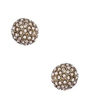 White Gold Plated and Austrian Crystal Covered Sphere Stud Earrings  - $25.73