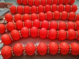 Darice Rondelle Coral 126 Beads Orange Gold Large 6 strands 7 inch lot A... - $31.68