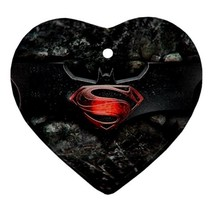 Heart Ornaments - Batman Vs Superman Heart Procelain Ornaments Christmas  - $4.49