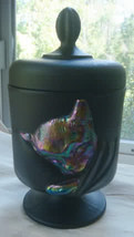Fenton Chessie Cat Jar Black Satin Glass Candy Dish - $149.24