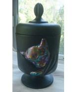 Fenton Chessie Cat Jar Black Satin Glass Candy Dish - $149.24