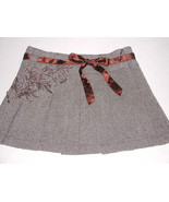 Guess Mini Skirt Wool Blend Pleated Brown Metallic Bow Applique Women's ... - $20.79