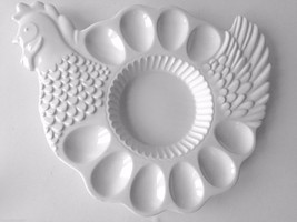 Easter Ceramic 10 Deviled Egg Platter Tray Combo Chicken Hen All White N... - $32.16