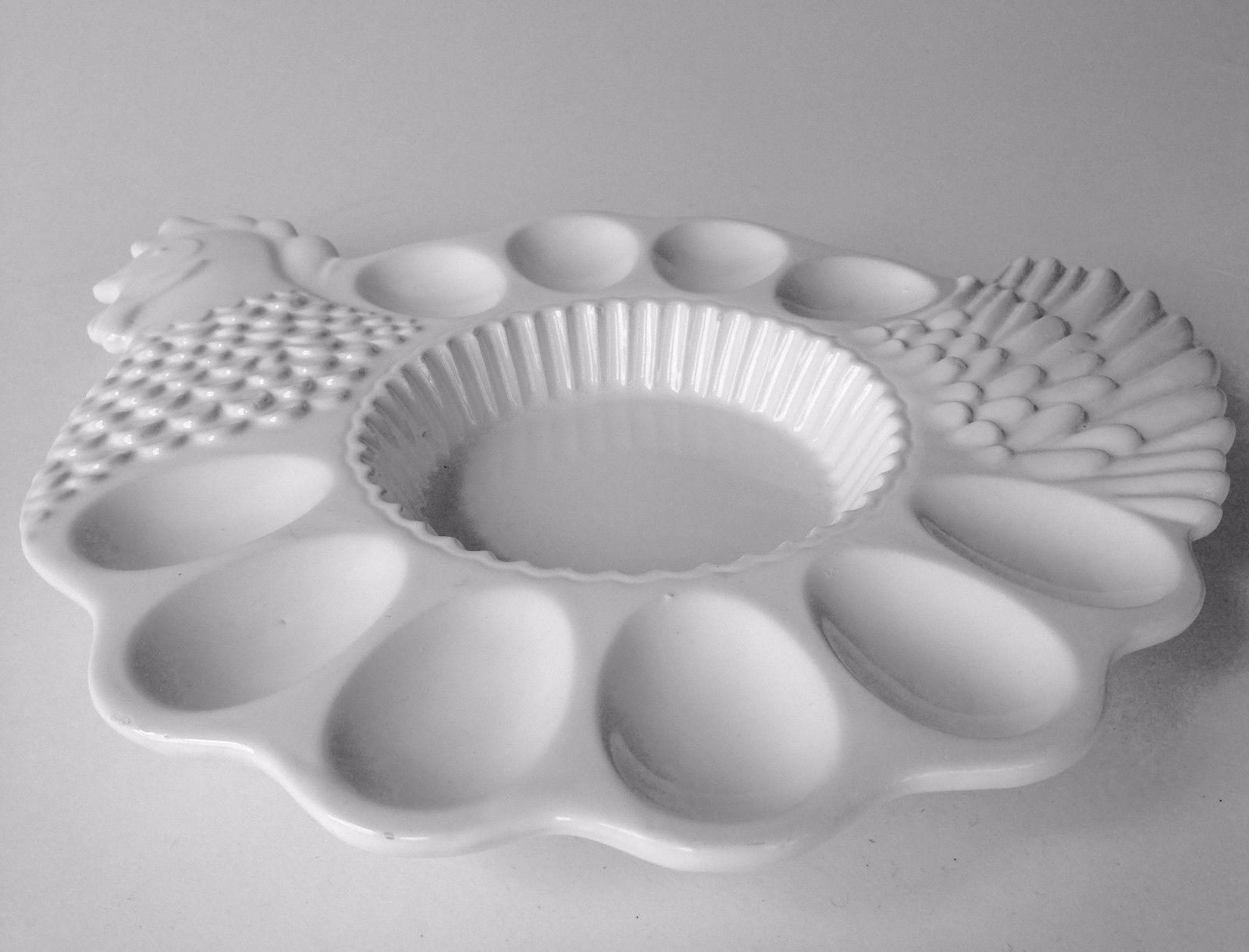 Easter Ceramic 10 Deviled Egg Platter Tray Combo Chicken Hen All White New 13x12