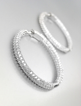 "STUNNING 18kt White Gold Plated INSIDE OUTSIDE CZ Crystals 1 1/4"" Hoop E... - $49.99"