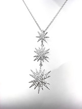 CHIC 18kt White Gold Plated CZ Crystals STARBURST Pendant Petite Dainty ... - $29.99