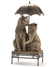 "17"" Kissing Cats on Bench with Umbrella Design Statue with Solar Features"