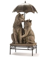 """17"""" Kissing Cats on Bench with Umbrella Design Statue with Solar Features   - $138.59"""