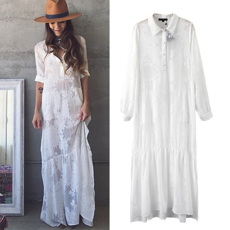 0fe3907dd00 FLORAL EMBROIDERED CROCHET LACE TUNIC WEDDING SIDE SPLIT LADIES DRESS  DRESSES - $19.90