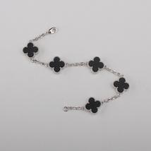 "Handmade 5-motif Black Onyx 0.5"" four-leaf-clover silver bracelet - $34.99"