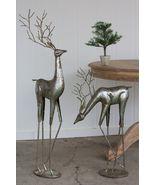 Fabulous set of Two Antique Silver Metal Sculpture/Statue Deer,32.5''& 4... - $321.75
