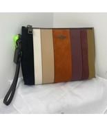 Coach Wristlet Charlie Patchwork Stripes Suede Leather Zip Black Tan 761... - $127.39