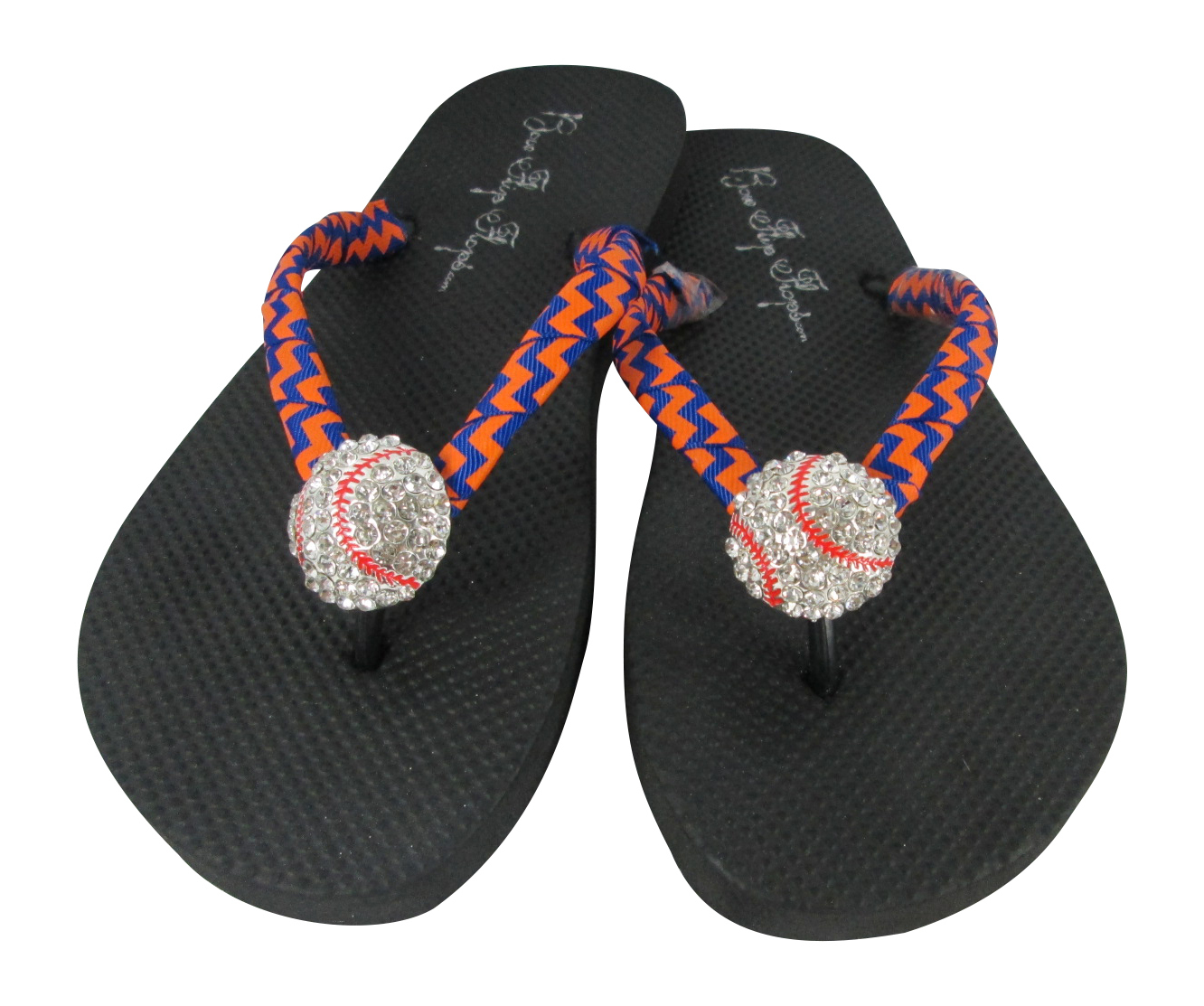 12e7bf6e95a6e2 Baseball Rhinestone Flip Flops - Purple Gold White Chevron or Choose any  colors